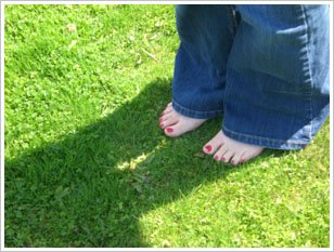 Bare feet in a nice clean yard!